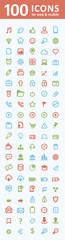 100 icons for web and mobile