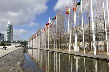 National flags in the Park of Nations in Lisbon, Portugal