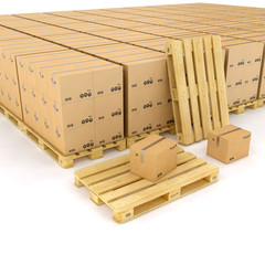 wood boxes on wooden palette