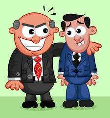 Business Cartoon - Boss Man Taking Advantage of Employee