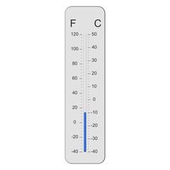 Minus tien graden Celsius op thermometer