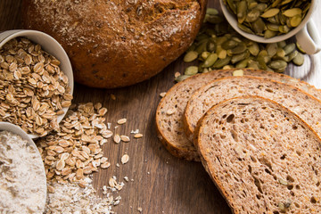 Bread with pumpkin seeds, flax and sesame seeds