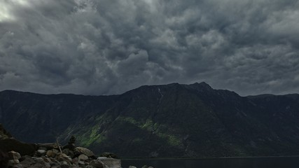 Stock Video Footage Mountain Lake storm timelapse 2k