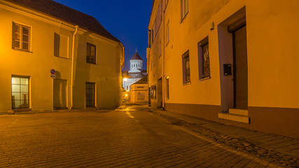 Street in the Old Town of Vilnius, capital city of Lithuania