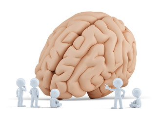 Little people arond giant brain. Isolated. Clipping path
