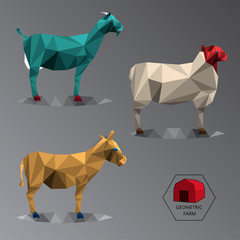 Colour full geometric illustration of medium farm animals