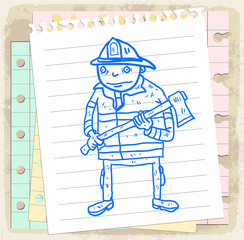 Cartoon fireman illustration