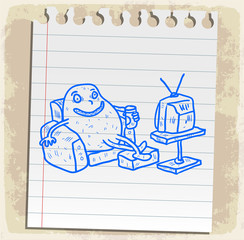 Cartoon couch potato illustration