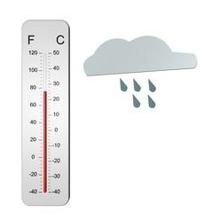 Thermometer 25 graden regen en bewolkt