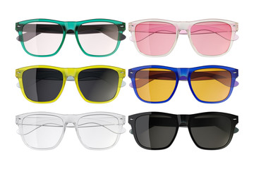 Colored glasses isolated on white background 2