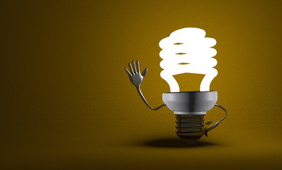 Fluorescent light bulb character waving hand