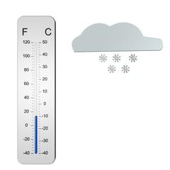 Winterse temperatuur met sneeuw