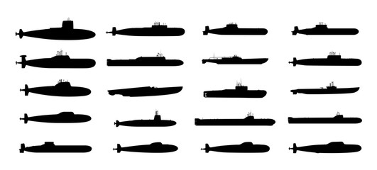 Submarines black silhouettes set. Vector EPS10.