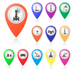 Set of silhouettes of oil industry in map markers.