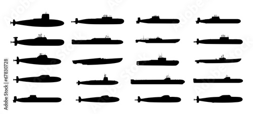 Submarines black silhouettes set. Vector EPS10. - 67830728