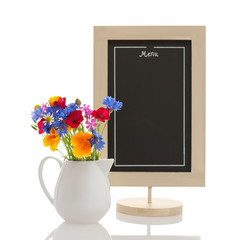 Chalkboard and wildflowers