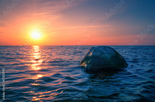 canvas print picture Baltic Sea sunset on the island Poel