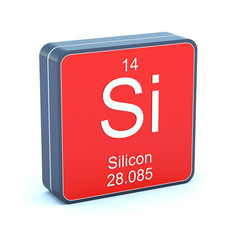 Silicon - element of the periodic table on 3d red icon