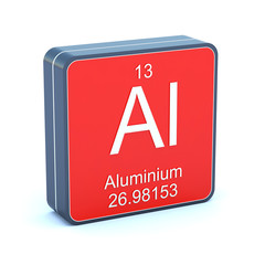 Aluminium - element of the periodic table on 3d red icon