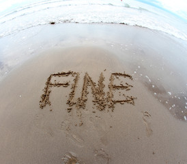 written Italian FINE END on the Sea Beach shot 2