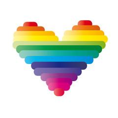 Herz aus Strichen - Regenbogen
