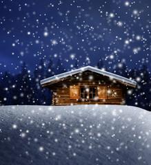 Schihütte bei Nacht