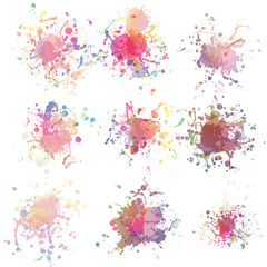 Colorful paint splashes on white. plus EPS10