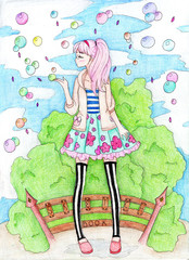 A colorful drawing of an anime girl with bubbles in a park