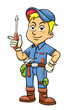 Cute mechanic cartoon holding a screw