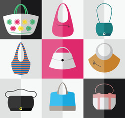 Set of flat women's bag and purse icons. Vector illustration.