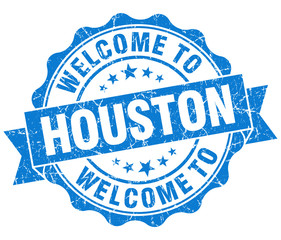 welcome to Houston blue vintage isolated seal