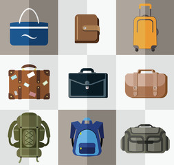 Set of flat bag and wallet icons. Vector illustration.