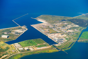 Aerial view of commercial port