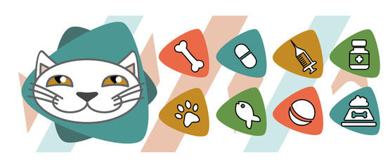 veterinary icons depicting cat