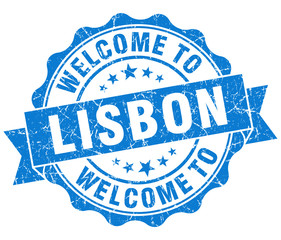 welcome to Lisbon blue vintage isolated seal