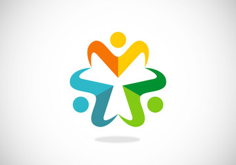 people circle teamwork vector logo