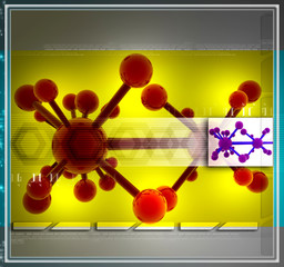 Digital illustration of molecules in abstract design