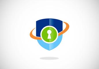secure shield orbit vector logo