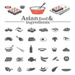 Asian vector food icons & ingredients