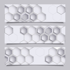 Horizontal banners with hexagons