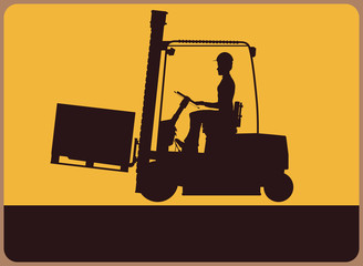 Warning sign with the silhouette of a forklift truck. Vector