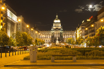 Prague city Wenceslas Square in night