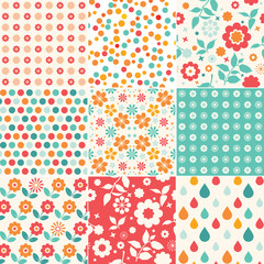 Set of colorful floral pattern