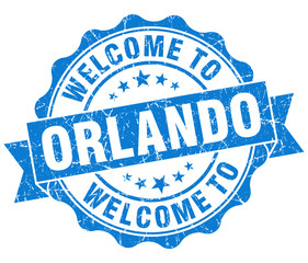 welcome to Orlando blue vintage isolated seal