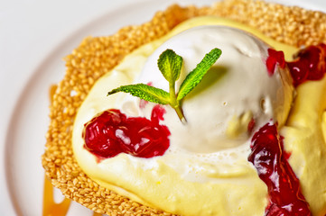 cake with jam ice cream