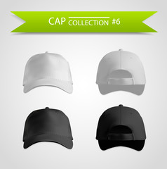 Baseball cap realistic set for branding
