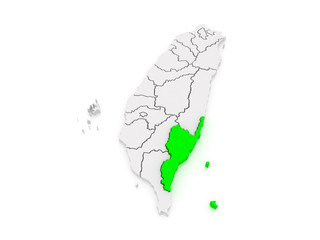 Map of Taitung County. Taiwan.