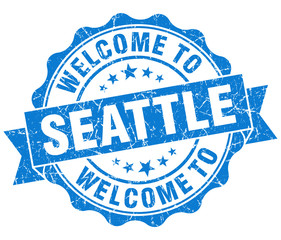 welcome to Seattle blue vintage isolated seal