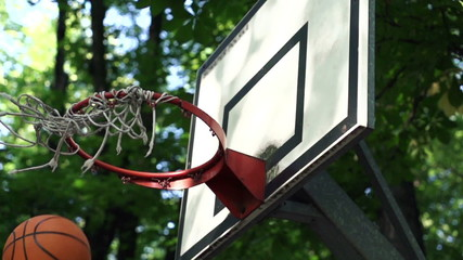 Basketball ball score point shot, super slow motion, 480fps