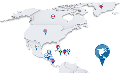 Map of North America with nation flags